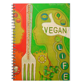 Vegan life fork spiral notebook