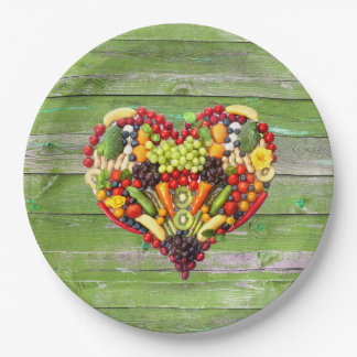 VEGAN LOVE -  your Heart Green Wood Paper Plate