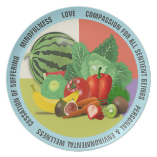 Vegan Message Fruits & Veggies Companion Plate