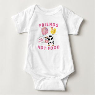 2a49b0cb4 Vegan Messaged Baby Clothes - Friends Not Food Baby Bodysuit