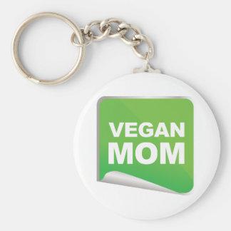 Vegan Mom Label Basic Round Button Keychain