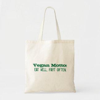Vegan Motto: eat well, fart often Budget Tote Bag