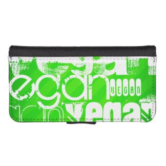 Vegan; Neon Green Stripes Phone Wallet Case