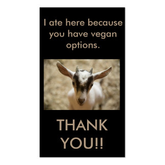 Vegan Outreach Thank You Cards Business Card