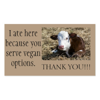 Vegan Outreach Thank You Cards Pack Of Standard Business Cards