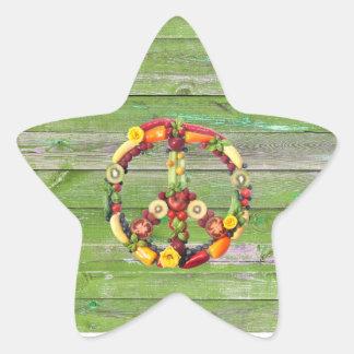 Vegan Peace Green Wall Wood Star Sticker