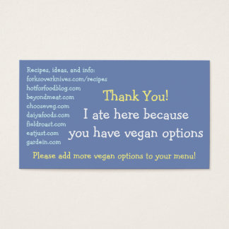 Vegan Restaurant Cards