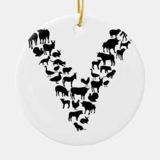 Vegan Round Ceramic Ornament