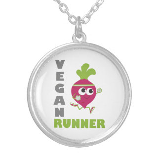 Vegan Runner - Beet Silver Plated Necklace