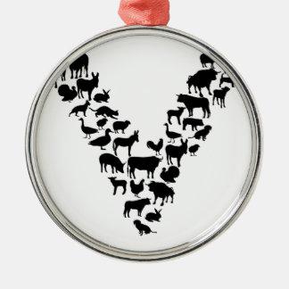 Vegan Silver-Colored Round Ornament