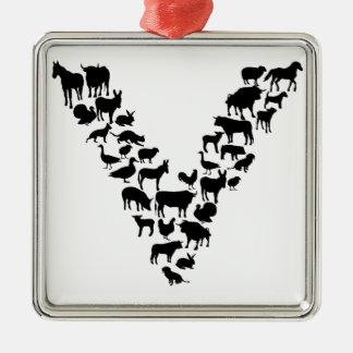 Vegan Silver-Colored Square Ornament