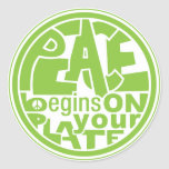 Vegan Slogan Peace Begins On Your Plate Round Stickers