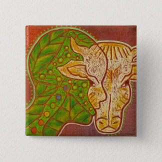 Vegan symbiosis animal human swipes in vegetable 2 inch square button