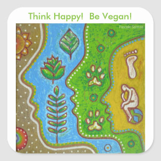 vegan think happy square sticker