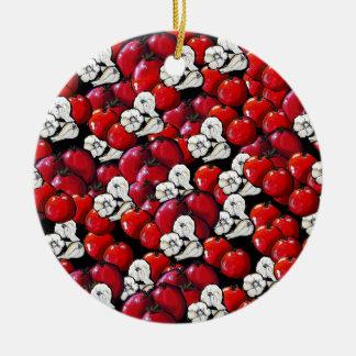 Vegan Tomatoes Garlic Colorful Folk Art Round Ceramic Ornament