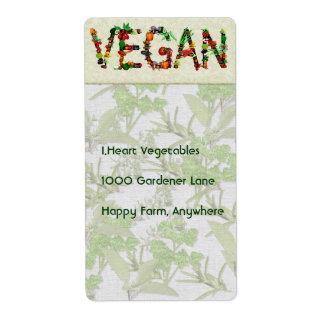 Vegan Vegetables Shipping Label