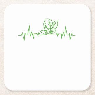Vegan Vegetarian Vegetable Heartbeats Square Paper Coaster
