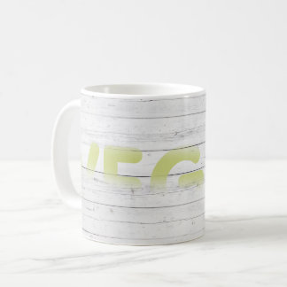 VEGAN White Wood Wall Coffee Mug