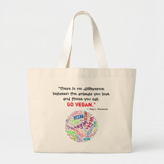 """Vegan"" Word-Cloud Mosaic and Quote Large Tote Bag"