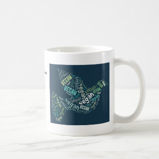 """Vegan"" Word-Cloud Mosaic - Peace Dove & Quote Classic White Coffee Mug"