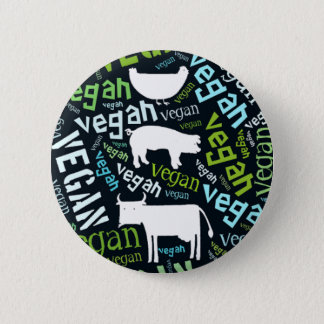 """Vegan"" Word-Cloud Mosaic with Pig, Cow & Hen 2 Inch Round Button"