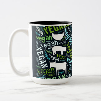 """Vegan"" Word-Cloud - Pig, Hen, & Cow with Quote Two-Tone Coffee Mug"