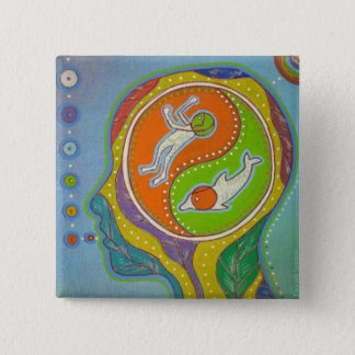 Vegan Yin Yang swipes in 2 Inch Square Button