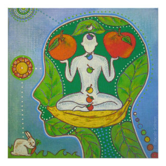 Vegan Yoga fruits Poster