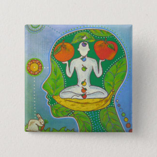Vegan yoga fruits swipes in 2 inch square button