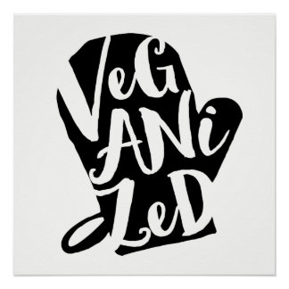 Veganized Vegan Custom Background Color Poster