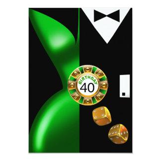 Vegas Art Deco Swank 40th Birthday green black Card