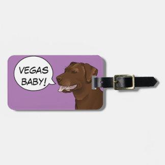 VEGAS BABY! Hipster Dog Chocolate Lab Travel Tag