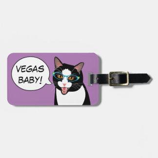 VEGAS BABY! Hipster Tuxedo Cat Bliss and Kittens Bag Tag