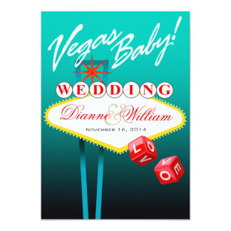 """Vegas Baby! Wedding Save the Date teal 5"""" X 7"""" Invitation Card"""