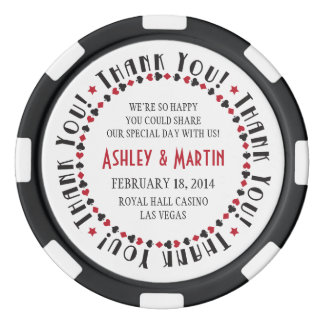 Vegas Casino Card Suits Wedding Thank You Favor Poker Chips