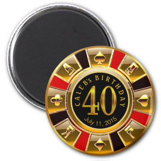 Vegas Casino Chip 40th Birthday | red gold black 2 Inch Round Magnet