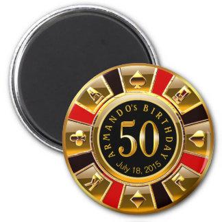 Vegas Casino Chip 50th Birthday | red gold black 2 Inch Round Magnet