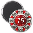 Vegas Casino Chip Birthday | red silver Magnet