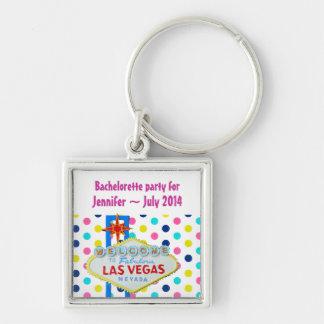 Vegas Final Fling Bachelorette Polka Dots Silver-Colored Square Keychain