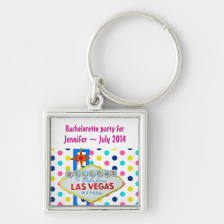 Vegas Final Fling Bachelorette Polka Dots Silver-Colored Square Keychain