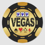 VEGAS GOLD AND BLACK POKER CHIP STICKERS