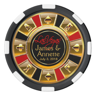 Vegas Newlyweds Casino Chip Red & Black Poker Chips