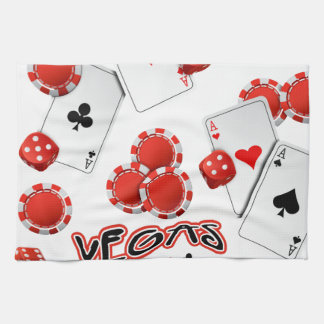 Vegas Poker Chips and Dice Kitchen Towel