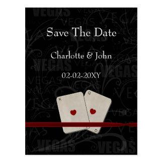 vegas save the date announcement postcard