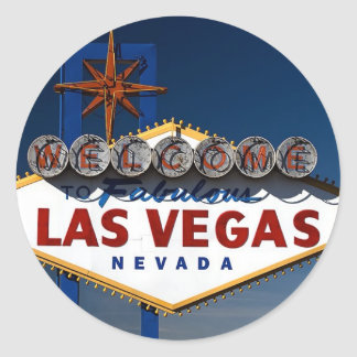 Vegas Sign Dusk Classic Round Sticker