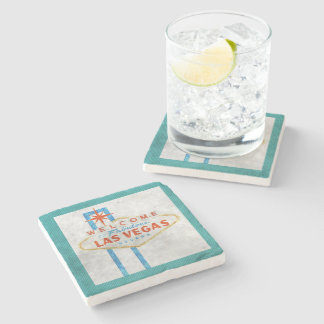 vegas sign grunge stone coaster