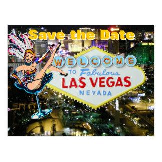Vegas Strip Wedding Save the Date Showgirl Postcard