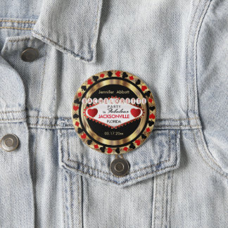 Vegas Style Bachelorette Party  - DIY City & State 3 Inch Round Button