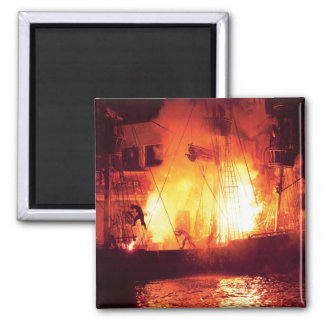 Vegas - Treasure Island - Explosion, Abandon ship Square Magnet