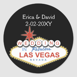 Vegas wedding envelope seal round sticker